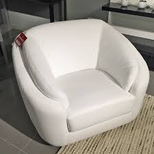Leather Swivel Armchairs Crows Nest Rusco Swivel Armchair White Leather Beyond Furniture