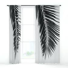 Black And White Blackout Curtains Black Window Curtains Palm Leaf Black White I Window Curtains