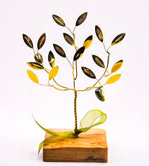 olive gifts handmade gift brass olive tree in wood