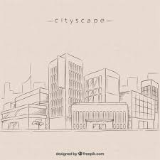 sketches modern city background vector free download