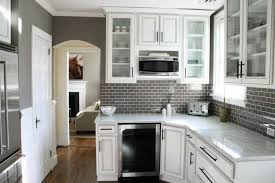 small tile backsplash in kitchen small kitchen designed with white cabinets and grey subway tile