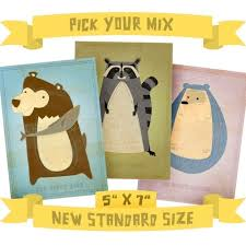 Woodland Animal Nursery Decor by Animal Print 5 In X 7 In Critters Series Pick Your Mix Set Of 3