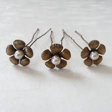 flower hair pins set of three antique gold flower hair pins by katherine swaine