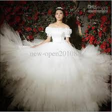 wedding dresses fluffy discount sleeves word shoulder wedding dress