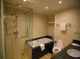 small bathroom shower with glass door and recessed lighting nytexas