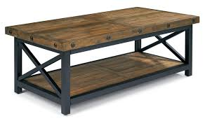 wood plank coffee table carpenter rectangle cocktail table with exposed bolt heads by