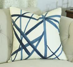 kelly wearstler channels pillow cover blue and ivory