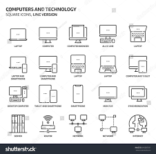 computers technology square icon set illustrations stock vector