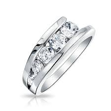 band ring sterling silver cz journey wedding band ring