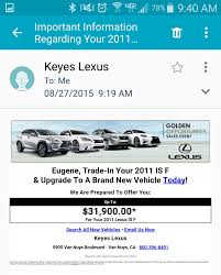 lexus van nuys used cars got an email offer to trade in my car clublexus lexus forum