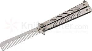 butterfly comb genpro balisong butterfly comb trainer 5 closed silver