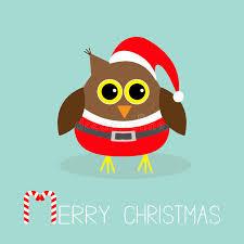 cute owl in santa claus costume hat snowflakes merry christmas