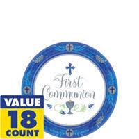 communion plates boy s communion dessert plates 18ct party city canada