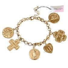 multi bracelet images Peace love protection quot multi saint charm bracelet gold plated jpg
