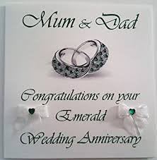 55th wedding anniversary happy emerald wedding anniversary and handmade card