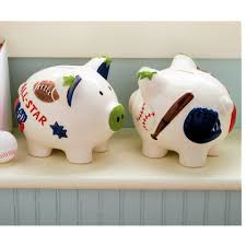 sports themed piggy banks piggy bank for boys home design banks personalized large car mamak
