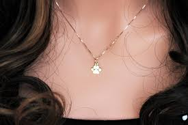 personalized paw print necklace paw necklace yellow gold paw print necklace in 14k solid yellow