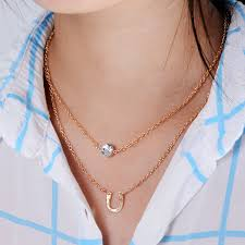 necklace with round pendant images Women thin gold chain necklaces gold color multilayers chain jpg