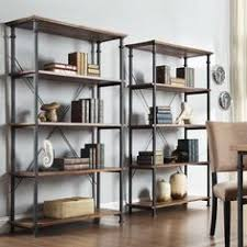 modway headway wood stand shelving unit in brown pine u0026 metal