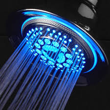 Cool Led Lights by Bathroom Round Modern Stainless Shower Gead With Blue Led Light