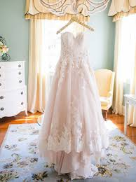 blush wedding dress sweetheart hi low blush wedding dress with white lace