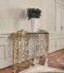 contemporary sideboard table metal marble leather manfred