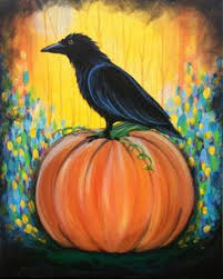 hand painted pumpkin halloween clipart halloween house 8x24 acrylic painting on canvas by fromgramshouse