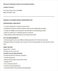 Free Sample Resume For Customer Service Representative Customer Service Representative Resumes Permalink To Bank