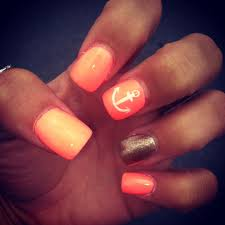 60 cute anchor nail designs orange nail ring finger and middle