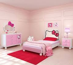 Girls Pink Rug White Wooden Study Desk Hello Kitty Bedroom Set Round White