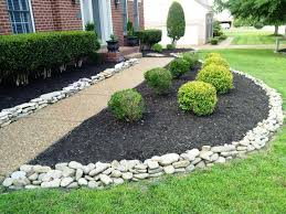 Home Design And Decor by Red House Landscape With White Rock River Rock Landscaping Ideas
