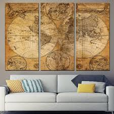 livingroom gg hd printed 3 canvas map picture home decor map
