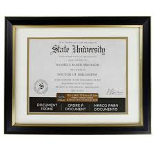 degree frames black gold document frame 11 x 14 with 8 5 x 11 mat by