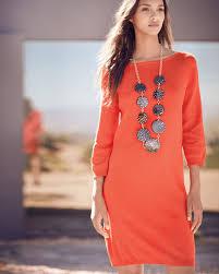 joan vass 3 4 sleeve cotton dress poppy orange