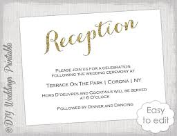 wedding reception cards wedding reception invitation template diy gold glitter printable