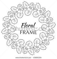 vector flower frame sketch flower wreath stock vector 428895412