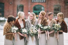 fur shawls for bridesmaids picture of mismatched fur stoles for bridesmaids and a in a