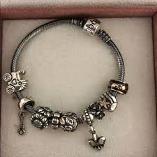 pandora silver bracelet with charms images Pandora jewelry oxidized charm bracelet with 9 charms poshmark jpg