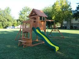 Backyard Set Backyard Discovery Montpelier Cedar Wooden Swing Set Walmart Com