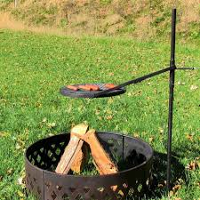 Firepit And Grill by Height Adjustable Rotating Outdoor Campfire Fire Pit Cooking Grill