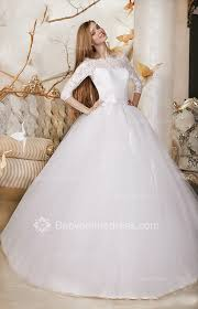 3 4 sleeve tull lace bridal gowns 2017 off the shoulder wedding