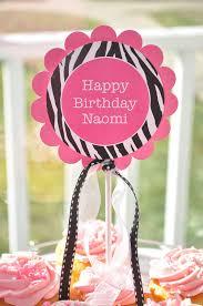 Cake Decorations For 1st Birthday Cake Topper U0027s 1st Birthday Party Zebra Stripe Pink