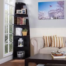 interior low wide black metal corner bookcase with 5 shelves