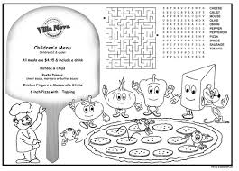coloring placemats children s menus kid s placemat coloring menus for restaurants