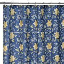 Blue And Yellow Shower Curtains Wholesale Emilie Fabric Shower Curtain 100 Cotton