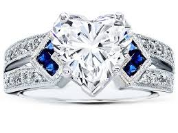 heart shaped wedding rings engagement ring heart shape diamond engagement ring trio blue