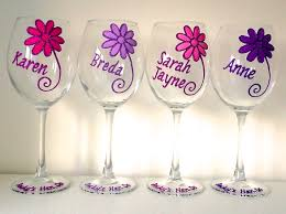 wine glass birthday 21st birthday large wine glass daisy design with your message