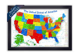 us map framed usa adventure map primary edition framed canvas map geojango