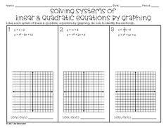 solving systems of linear u0026 quadratic equations by graphing