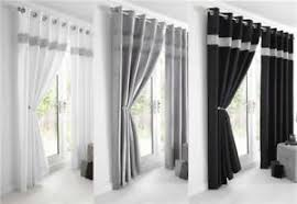 Black And Silver Curtains New Diamante Faux Silk Lined Curtains Black Silver Or White